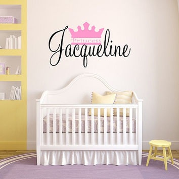 Princess crown personalized with name vinyl wall decal, perfect over crib or bed, little girls room sticker, DIY kids room decal
