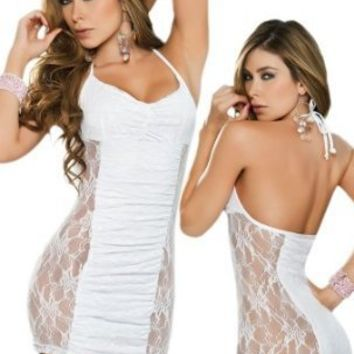 Sexy Sheer White Lace Halter Dress