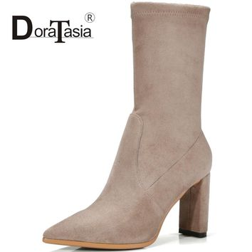 DoraTasia Cow Suede Women Med Calf Boots Vintage Thick High Heels Pointed Toe Shoes Woman Fashion Boots