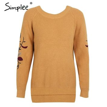 Embroidered Long-Sleeve Pullover Sweater