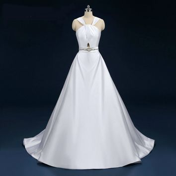 Halter Satin Wedding Dresses Simple Wedding Gowns with Belt Satin Robe  Bridal Gowns