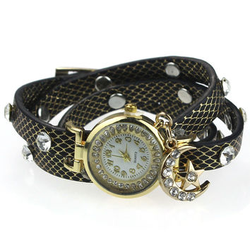 "*** On Sale *** ""Look To The Moon And Stars"" Sparkly Wrap Bracelet Watch in Black"