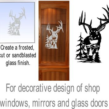 White Tail Deer Hunting Gun Cabinet Etched Glass Decal Vinyl Sticker