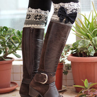 Knitted Lace Band With Bow Leg Warmer Boot Topper With Lace Trim Open Lace Knit Women's Fashion Winter Accessories