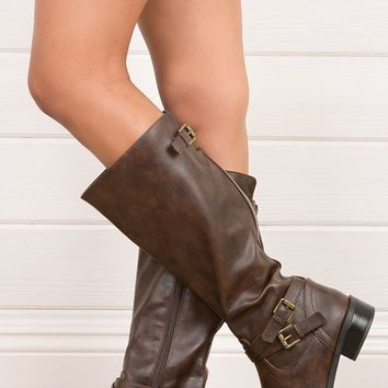 Soda Bios Brown Cross Strap Riding Boots shop Boots at MakeMeChic.com
