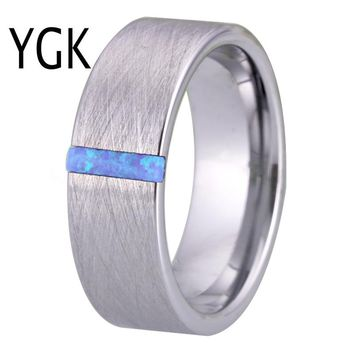 Classic Wedding Rings for Men Women Fashion Engagement Ring Silver Brushed With Opal Stone Anniversary Party Ring Bridal Jewelry