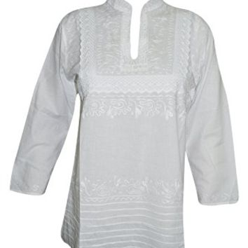 Mogul Interior Womens Peasant Tunic Top Cotton Hand Embroidered White Summer Blouse Beach Cover Up