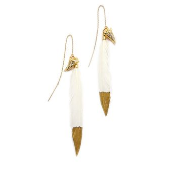 Jaws Feather Earrings - Gold & Ivory White