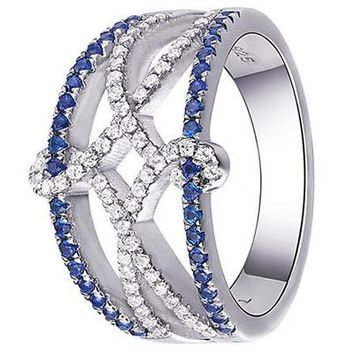 Blue Spinel AAA Cz 925 Sterling Silver Wide Wedding Band Statement Ring Gemstone