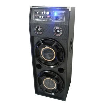 1400 Watt Disco Jam Powered Two-Way PA Speaker System w/ USB & SD Readers, FM Radio, 3.5mm AUX Input & DJ Flashing Lights