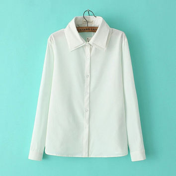 White Long-Sleeve Button Double Layer Collar Shirt
