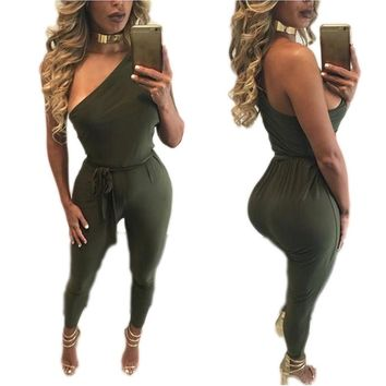 2016 Summer One Shoulder One Piece Bandage Jumpsuit For Women Backless With Belt Sexy Club Romper Spandex Bodysuit Leotard