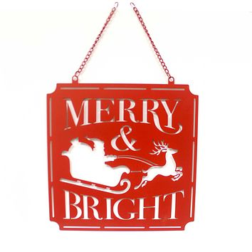 Home & Garden MERRY  BRIGHT METAL GARDEN FLAG Metal Christmas 44055