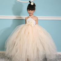 Christmas Ivory girl Tutu Dress birthday party wedding flower girl photograph prop 12M- 8T