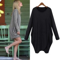Women Long Sleeve Cotton Casual Tee Shirt Dress Pleat Irregular Black Gray Spring Autumn Dress
