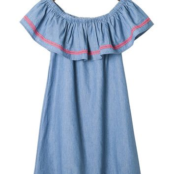 Streetstyle  Casual Off Shoulder Flounce Denim Shift Dress