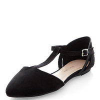 Teens Black T-Bar Strap Pointed Flats