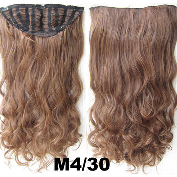 Bath & Beauty 7 Clip in Elastic Cap Wig Curly hair synthetic hair extension hairpieces wavy slice curly hairpiece SCH-888 M4/30,Hair Care,fashion Cosplay ombre 1PCS