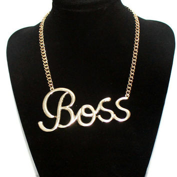 "couple necklace, ""Boss"" necklace, thick gold necklace,monogram words necklace,churk neckalce, unique gift jewelry"