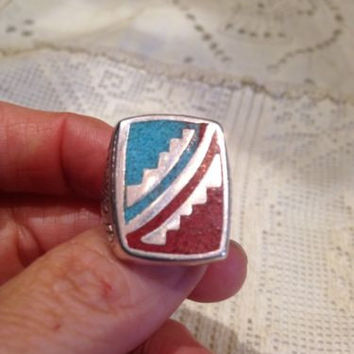 1980's Vintage Large Stainless Steel Size 10 Men's Inlay Ring
