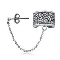 Bling Jewelry Celtic Swirls Tribal Ear Cuff with Chain One Piece 925 Sterling Silver