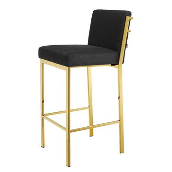 Black Velvet Bar Stool 30"
