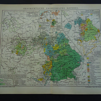 BAVARIA old history map of Bavarian territory borders 1904 original print/poster - alte historische karte Bayern - detailed antique maps