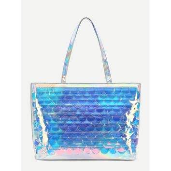 Scale Pattern Iridescent Tote Bag