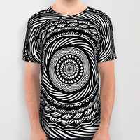 Black Swirl Spiral Mandala Detailed Eclectic Ethnic Spiritual Design (Black and White) All Over Print Shirt by AEJ Design