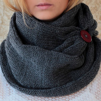 by (KnitScarf) Knit Scarf with button, infinity scarf, circle scarf, loop scarf , knit infinity scarf , button scarf, open weave knit scarf