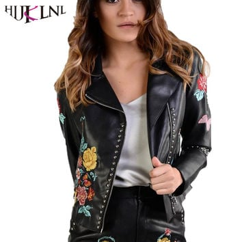 HIJKLNL Punk Black PU Leather Motor Jackets 2017 Autumn Women's Flower Embroidery Rivet Jackets Basic Coats veste femme NA148