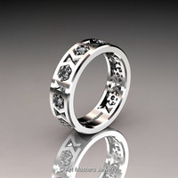 Womens Modern Armenian 14K White Gold Diamond Wedding Band R535F-14KWGD