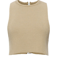 Wheat Knit Rib Sleeveless T-Shirt by Calvin Klein Collection - Moda Operandi