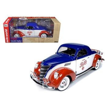 1937 Lincoln Zephyr Coupe \Pepsi Cola\ Limited to 1500pc 1-18 Diecast Model Car by Autoworld