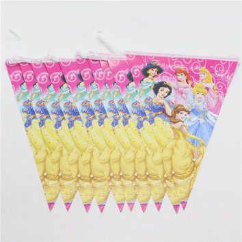 2.5M Princess Party Banners Paper Flags Decoration Pennats Kids Favors Happy Birthday Baby Shower Cartoon Theme Supplies
