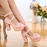 Sweet Bows Straps High Platform Lolita Heels Shoes