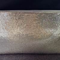 70s Vintage Silver Metallic Mesh Clutch  Whiting & by Mercivintage