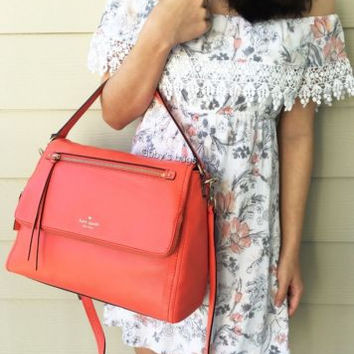 NWT Kate Spade Cobble Hill Toddy Bright Papaya Large Satchel Crossbody $378