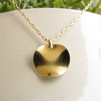 Tiny gold dot necklace, gold filled necklace, hammered coin necklace, sun drop necklace, gold necklace