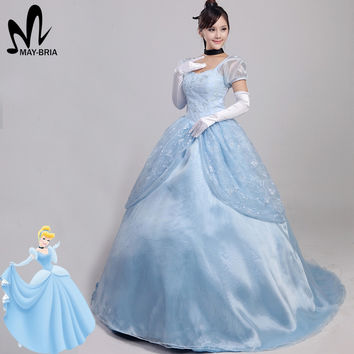 fancy Cinderella dress Cinderella cosplay costume adult women Halloween Cinderella costume Dress+headband+gloves+neck decoration