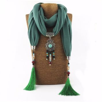 2017 Woman Charms Resin Beads Tassel Women Necklace Drop Pendant Scarves Christmas Gift Choker Jewelry Scarves Necklace
