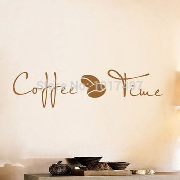 Coffee Wall Art Decal Sticker vinyl coffee wall stickers for coffee shop or office decor free shipping F2072