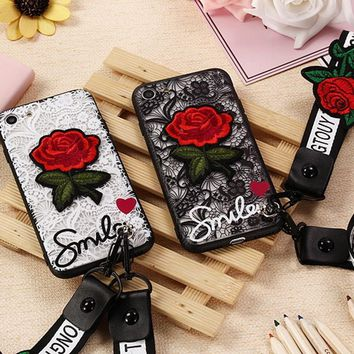 Flower Lace Full Edge Protection Phone Case with Lanyard Transparent Red Rose Embroidery Case for iPhone X 8 7 6 6S Plus 5 5s SE