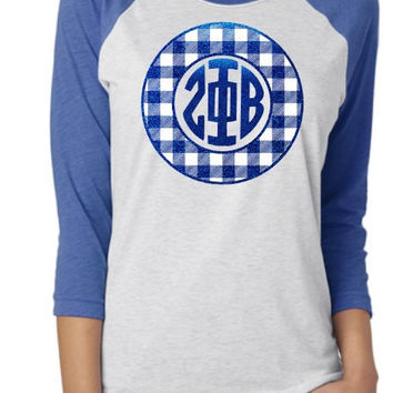 Zeta Phi Beta Glitter Buffalo Check Raglan Shirt
