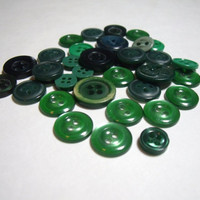 Vintage Buttons Shades of Green lot of 35 craft sewing scrapbook destash supply small size buttons