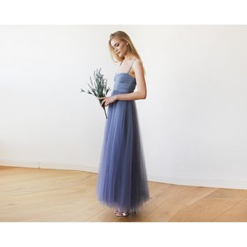 Dusty Blue Maxi Ballerina Tulle Dress 1061
