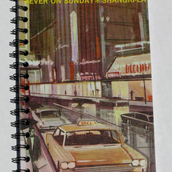 Vintage Upcycled Album Cover Sketchbook Journal Notebook 1960s Cars Downtown