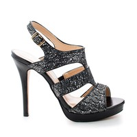 Kimi25 Black Sparkle By Blossom, Sling back Dazzling Glitter Cluster Cut Out Strappy Stiletto Heels