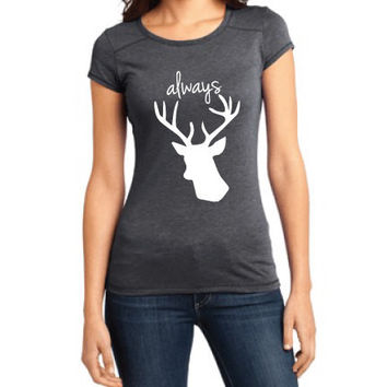 Harry Potter Inspired Clothing - Stag Always Crew-Neck Tee - Ladies