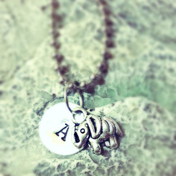 Tiny Elephant Initial Necklace - Personalized